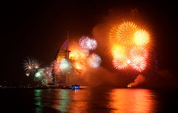 new year celebration firework at jumeira beach dubai 2015 - uae national day 뉴스 사진 이미지