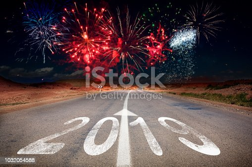 istock 2019 New Year celebration fireworks on the road 1032054588