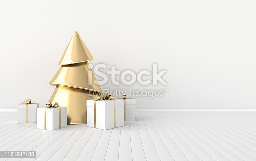 istock New year celebration interior background. Golden xmas tree and gift box on the floor. Realistic illustration for New Year's and Christmas banners. 3d render 1181642133