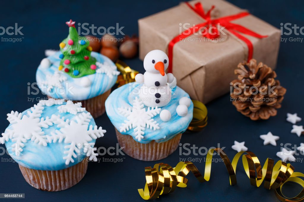 New Year Celebration Party Concept Tasty Cupcakes With Snowman Stock