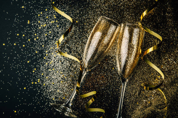 New year celebration party with champagne concept stock photo