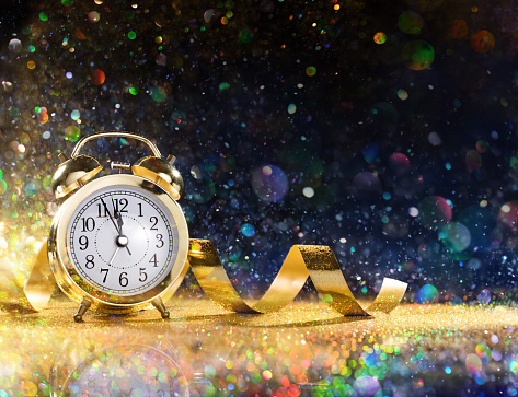Clock Alarm With Streamers And Colorful Glitter