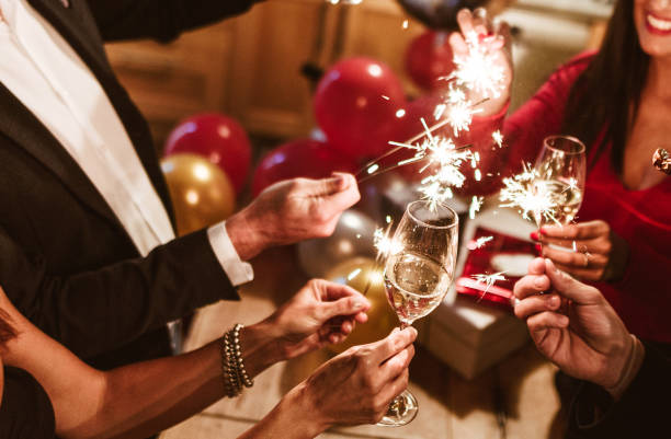 new year celebration with champagne new year celebration with champagne new year's eve stock pictures, royalty-free photos & images