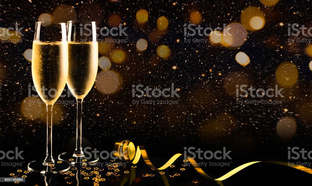 New year celebration with champagne stock photo
