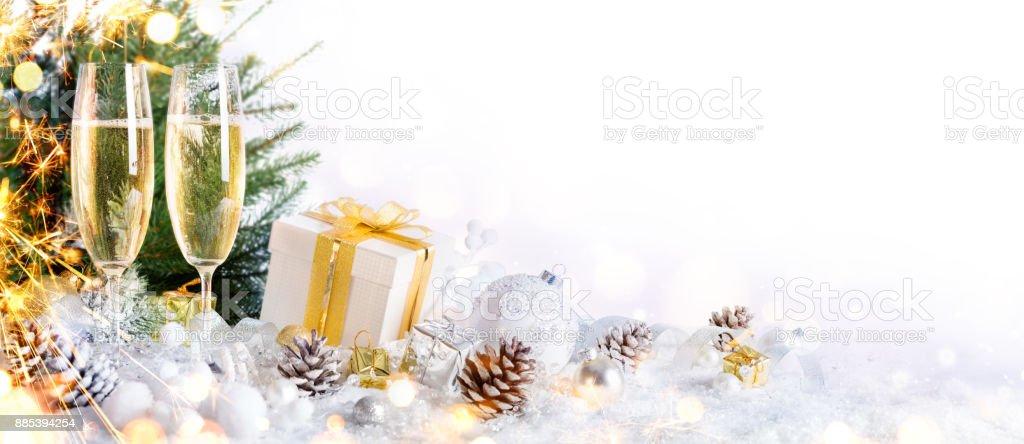 New Year Celebration With Christmas Decoration stock photo