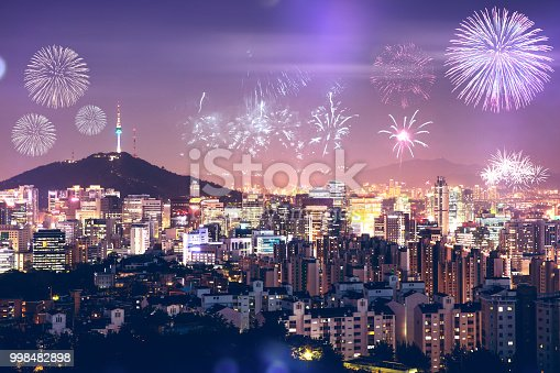 istock New Year Celebrations and Seoul cityscape seen from above - South Korea 998482898