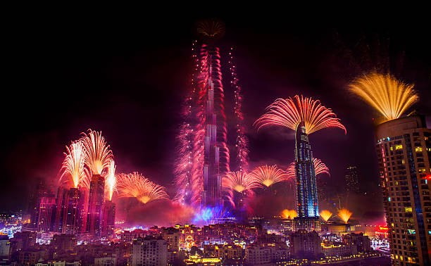 New Year Celebrations Fireworks at Burj Khalifa in Dubai Dubai, UAE - January 1, 2015: New Year Celebrations Fireworks at Burj Khalifa in Dubai burj khalifa stock pictures, royalty-free photos & images