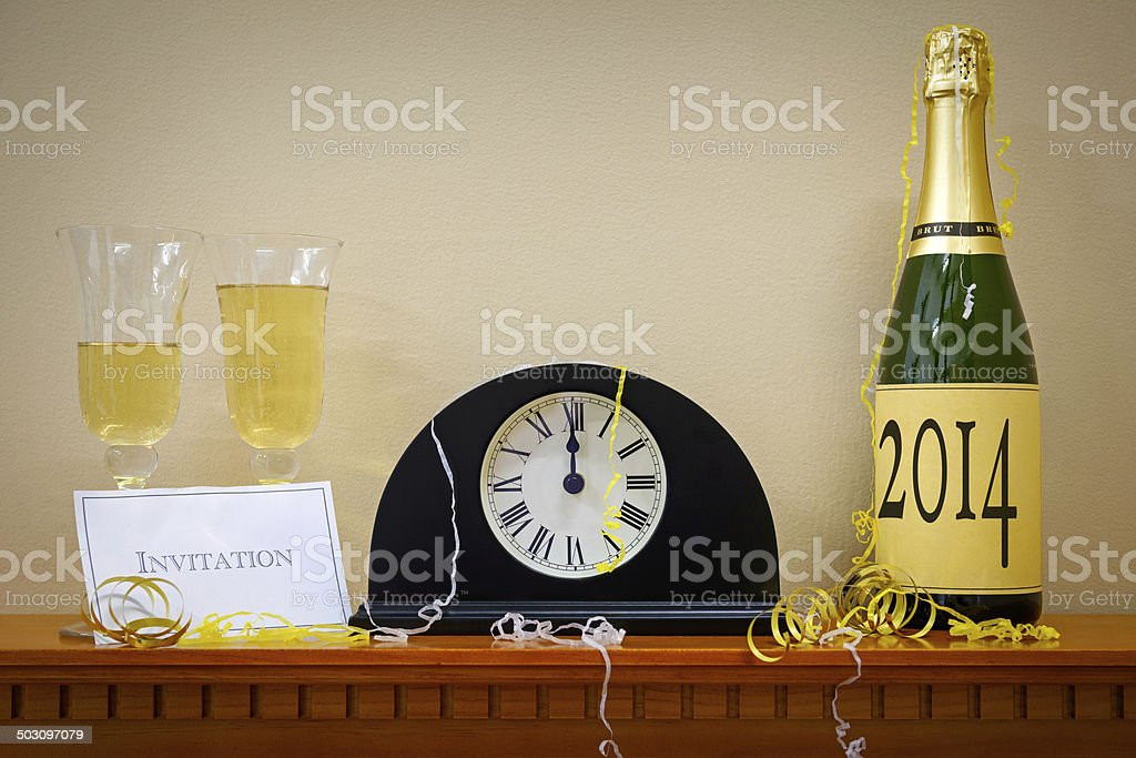 2014 New Year Champagne and clock royalty-free stock photo