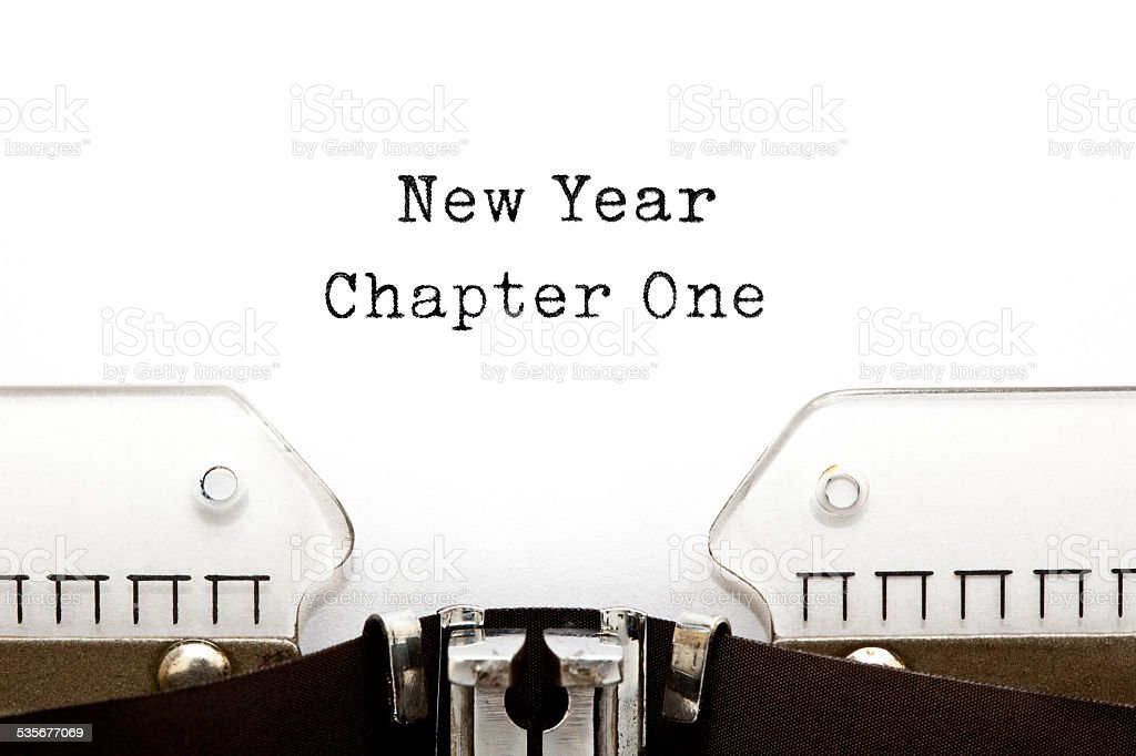 New Year Chapter One Typewriter stock photo