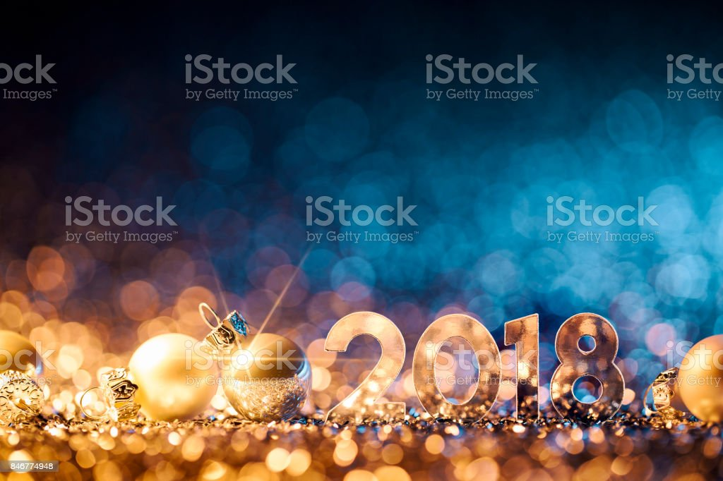 New Year Christmas Decoration 2018 - Gold Blue Party Celebration stock photo