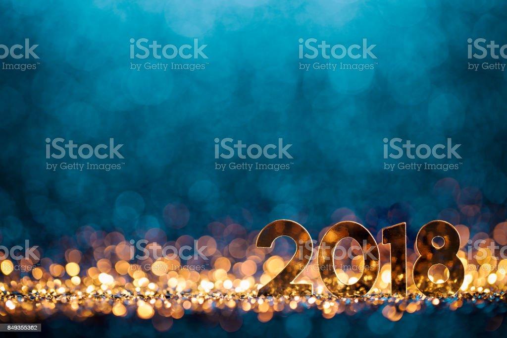 Decoración de Navidad año nuevo 2018 - celebración fiesta azul oro foto de stock libre de derechos