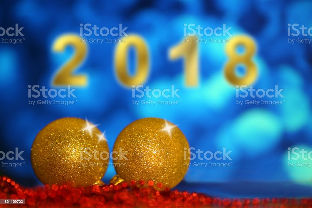New Year Christmas Decoration 2018 - Gold Blue Red Party Celebration royalty-free stock photo