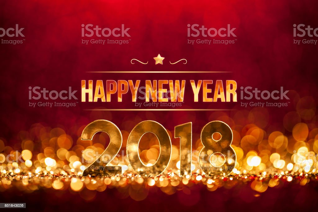 New Year Christmas Decoration 2018 - Gold red Party Celebration stock photo