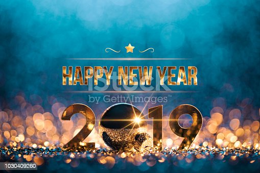 istock New Year Christmas Decoration 2019 - Gold Blue Party Celebration 1030409260
