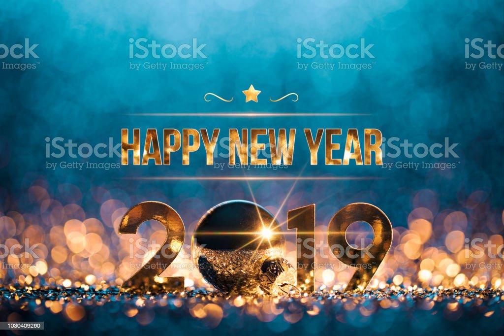 2019 - ouro azul celebração de festa, decoração de Natal ano novo - foto de acervo