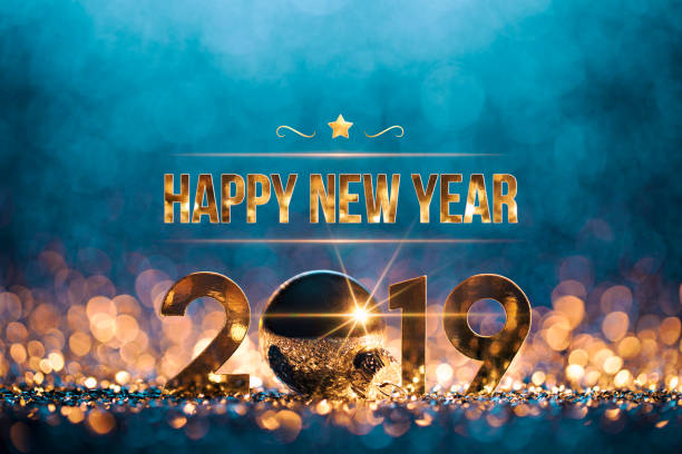 neues jahr weihnachtsdekoration 2019 - gold blau party feier - silvester deutschland stock-fotos und bilder