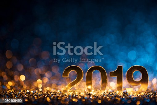 istock New Year Christmas Decoration 2019 - Gold Blue Party Celebration 1030409450