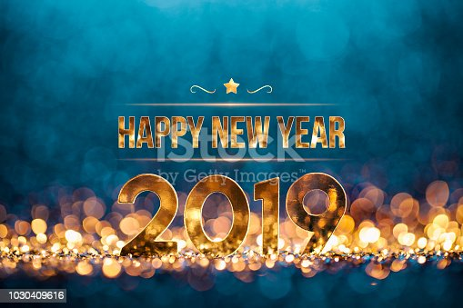 istock New Year Christmas Decoration 2019 - Gold Blue Party Celebration 1030409616