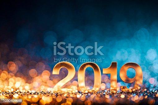 istock New Year Christmas Decoration 2019 - Gold Blue Party Celebration 1030409688