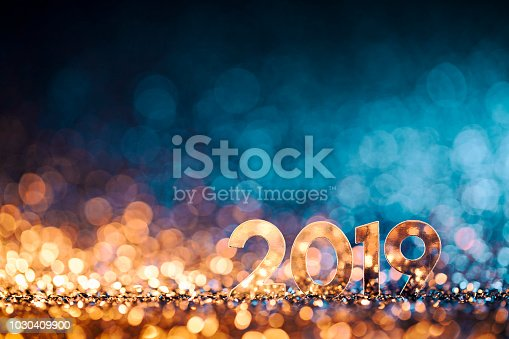 istock New Year Christmas Decoration 2019 - Gold Blue Party Celebration 1030409900
