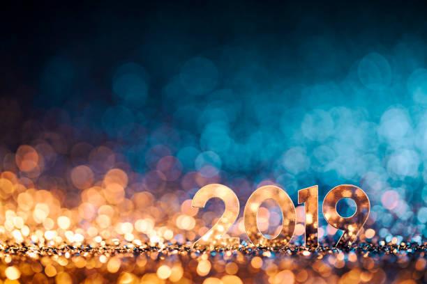 New Year Christmas Decoration 2019 - Gold Blue Party Celebration stock photo