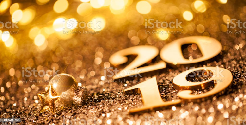 New Year Christmas Decoration 2019 - Gold Blue Party Celebration royalty-free stock photo