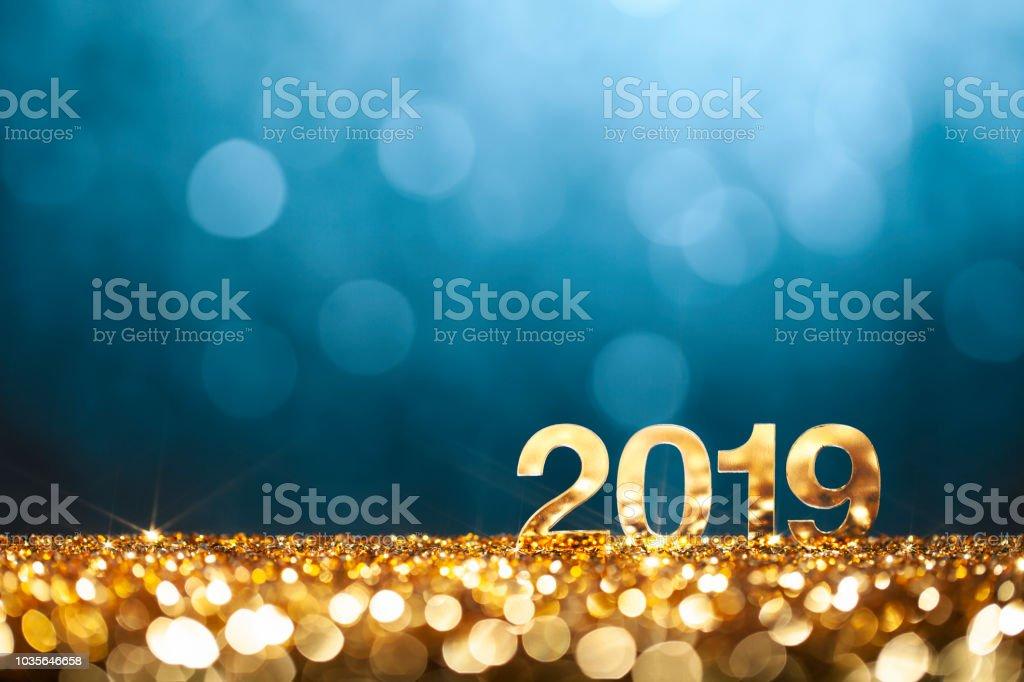 New Year Christmas Decoration 2019 - Gold Blue Party Celebration royalty-free stock photo