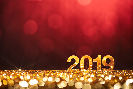 New Year Christmas Decoration 2019 Gold Red Party Celebration Stock Photo - Download Image Now