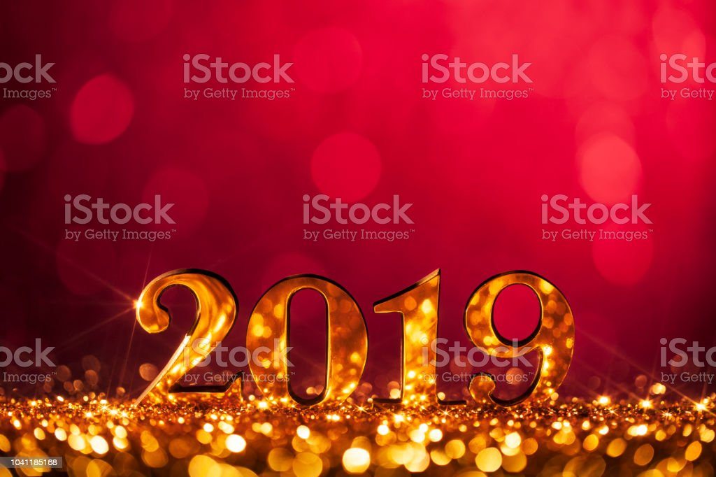 New Year Christmas Decoration 2019 - Gold Red Party Celebration royalty-free stock photo