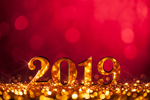 New Year Christmas Decoration 2019 - Gold Red Party Celebration