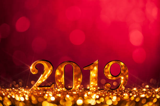 New Year Christmas Decoration 2019 - Gold Red Party Celebration stock photo