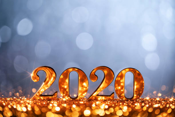 New Year Christmas Decoration 2020 - Gold Blue Party Celebration stock photo