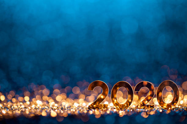 new year christmas decoration 2020 - gold blue party celebration - new year imagens e fotografias de stock