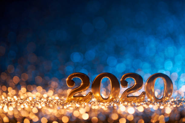 New Year Christmas Decoration 2020 - Gold Blue Party Celebration stock photo