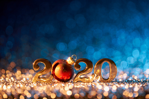 istock New Year Christmas Decoration 2020 - Gold Blue Party Celebration 1190868349