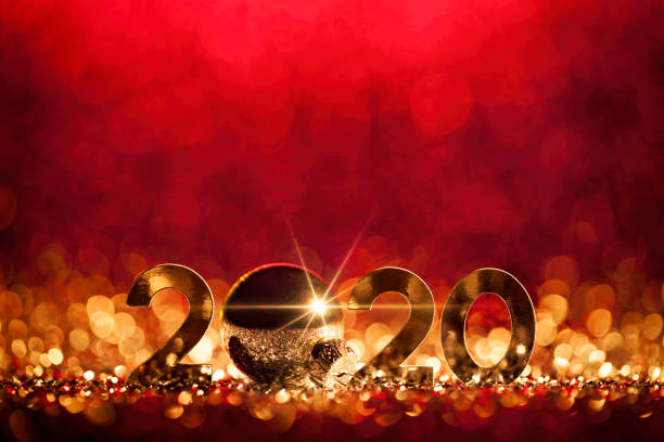 New Year Christmas Decoration 2020 - Gold red Party Celebration stock photo
