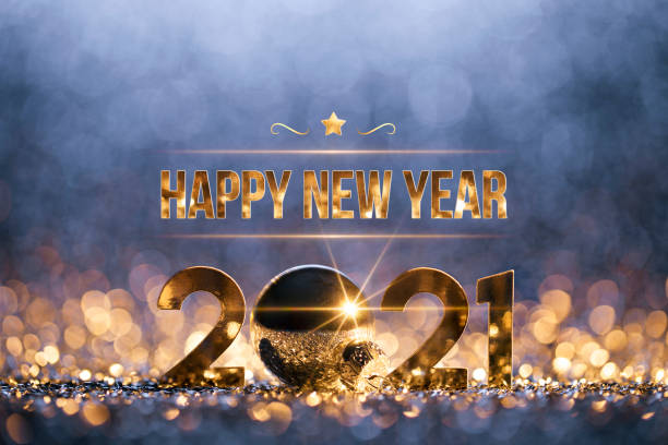 New Year Christmas Decoration 2021 - Gold Blue Party Celebration stock photo