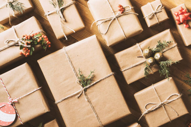 New Year Christmas gift boxes - foto stock