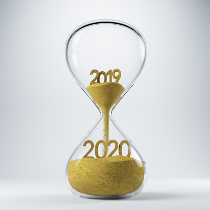 New Year Clock 2020 Concept with Hourglass