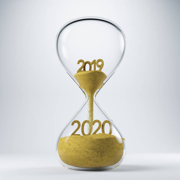 new year clock 2020 concept with hourglass - new years day stock pictures, royalty-free photos & images