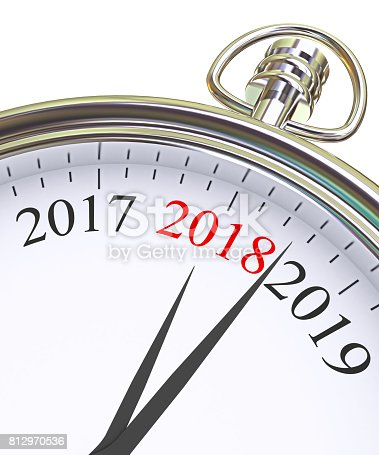 istock 2018 New Year clock on white 812970536