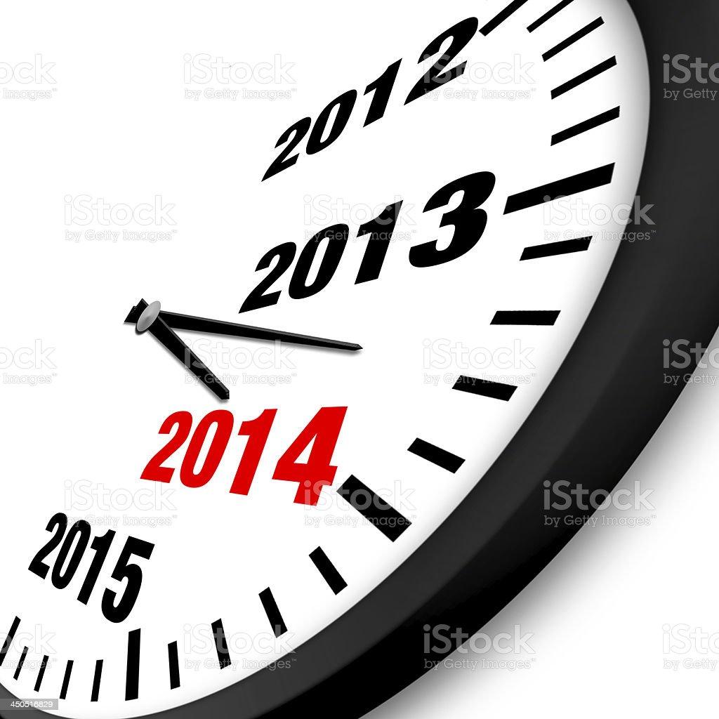 2014 New Year clock stock photo