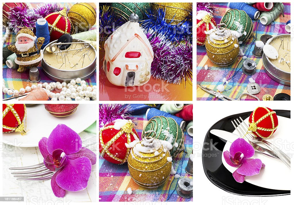 new year collage of pictures for Christmas royalty-free stock photo