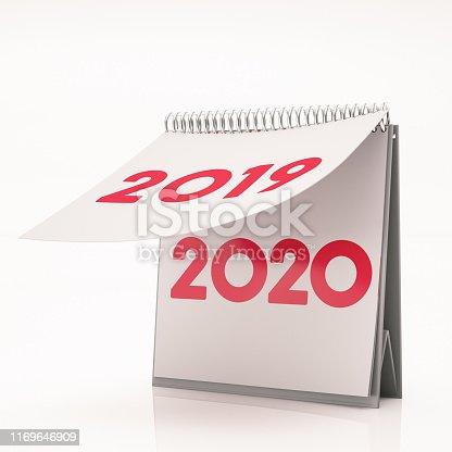 New Year Concept 2020 Calendar. 3D Render
