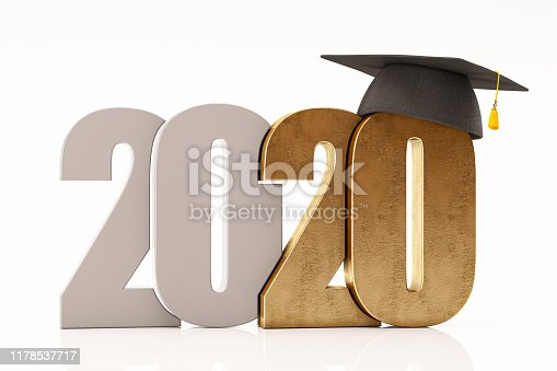 New Year Concept 2020 with Graduation Hat on white. 3d Render