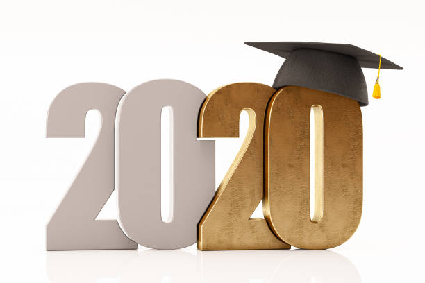 New Year Concept 2020 with Graduation Hat stock photo