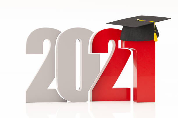 New Year Concept 2021 with Graduation Hat stock photo
