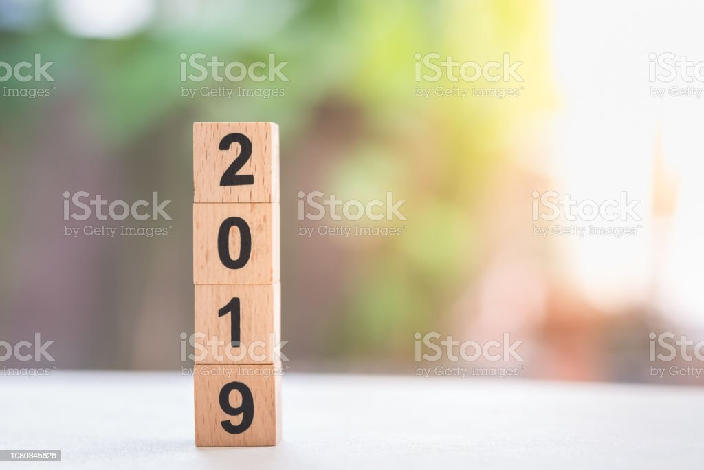 2019 New year concept. Close up of stack of wooden number blocks toy with nature background. stock photo