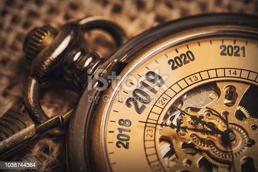 istock New year concept for 2019 with brow pocket watch 1038744364