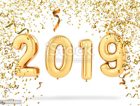 istock New Year Concept with 2019 Balloons and Confetti 1053004800